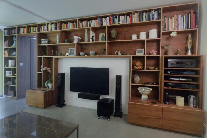 walnut storage wall