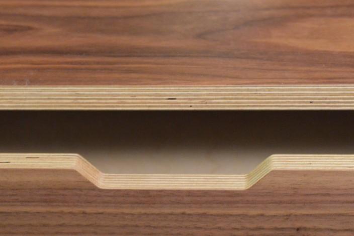 walnut storage wall 9 drawer detail