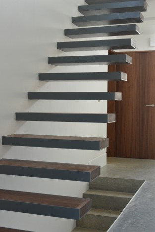 floating stairs walnut steel